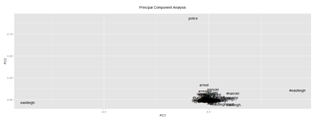 Analysis of Words Variations using PCA on #EastleighBlast Data